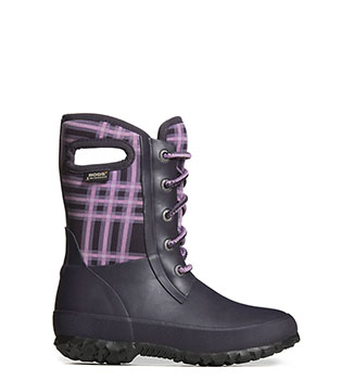 Amanda Winter Plaid KIDS' INSULATED RAIN BOOTS